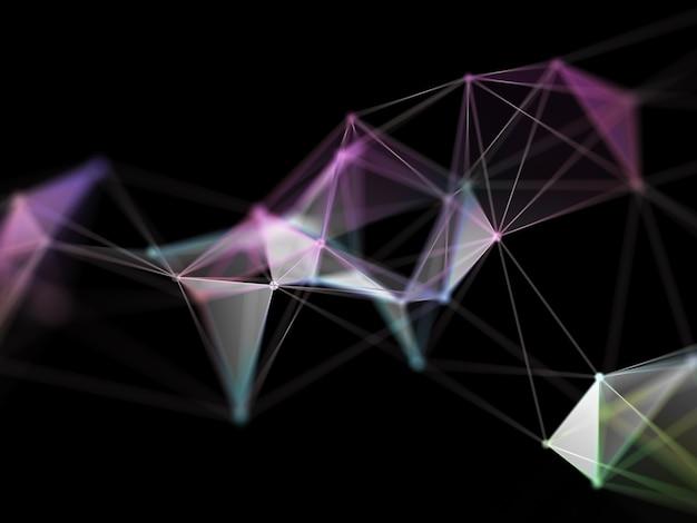 Rendu 3d d'une conception de plexus low poly, fond de science hi tec
