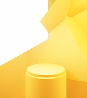 Rendu 3d de la conception publicitaire de fond minimal abstrait podium jaune orange vide