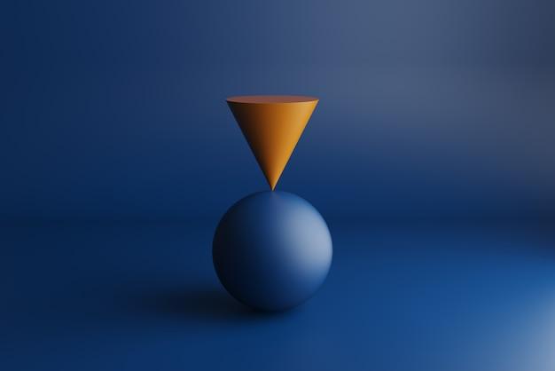 Rendu 3d, cône orange en équilibre sur la sphère bleue
