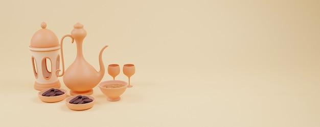 Rendu 3d de la configuration de l'iftar islamique avec des dates de pot d'eau de lanterne arabe et un plat sucré siwai avec espace de copie