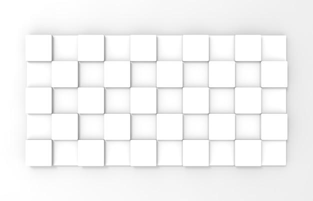 Rendu 3d. conseil de plaque de boîte de cube carré simple sur fond de mur blanc.