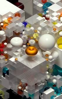 Rendu 3d de la construction de jeux de puzzle d'art abstrait en vue isométrique basée sur des figures de géométrie sous forme de cubes et de sphères