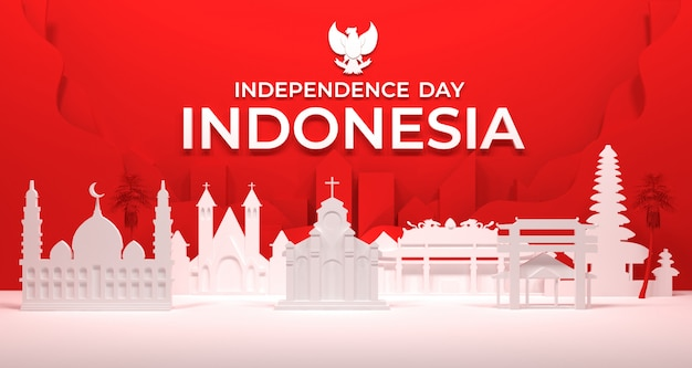 Rendu 3d de la construction de la ville et du culte des communautés religieuses en indonésie.