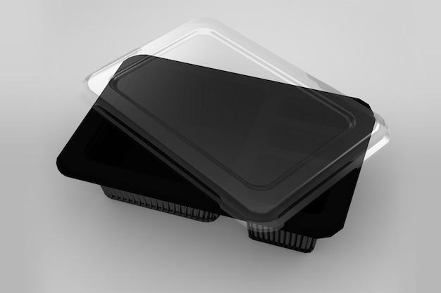 Rendu 3d d'un conteneur bento transparent vide isolé sur blanc avec base noire
