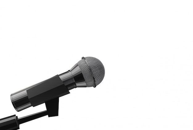 Rendu 3d. un côté microphone avec un tracé de détourage isolé sur fond blanc.