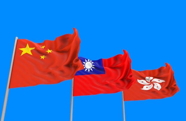 Rendu 3d. coulant des drapeaux nationaux de chine, de taïwan et de hong kong avec un tracé de détourage isolé sur ciel bleu.