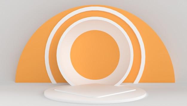 Rendu 3d de couleur blanche et orange avec un fond minimal et abstrait. spectacle sur scène avec forme et géométrie.