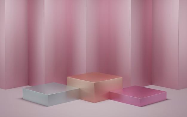 Rendu 3d, couleur pastel cosmétique abstraite.