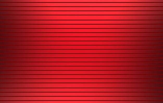 Rendu 3d. couleur rouge fond de mur de porte d'obturateur parallèle panneau métallique horizontal.