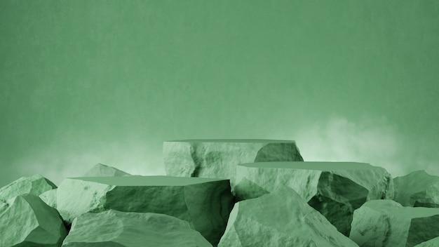 Rendu 3d de couleur verte d'étape d'arbre en pierre de vitrine de produit