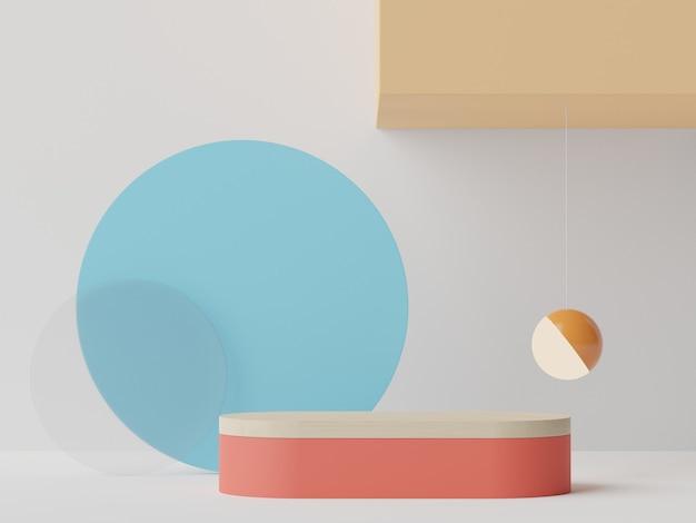 Rendu 3d couleurs d'été podium minimal pour maquette et présentation de produits