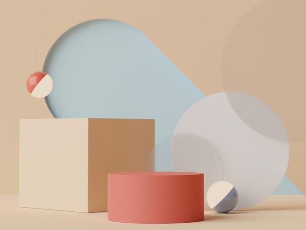 Rendu 3d couleurs pastel de la terre podium minimal pour la maquette et la présentation des produits