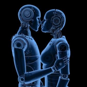 Rendu 3d couple cyborgs cyborgs baiser mâle et femelle