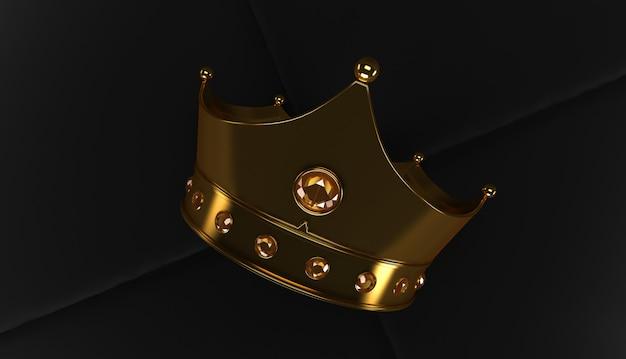 Rendu 3d de la couronne d'or sur un fond noir, couronne royale d'or sur un oreiller