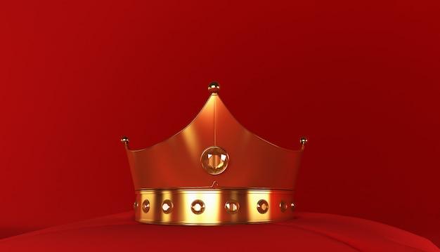 Rendu 3d de la couronne d'or sur fond rouge, couronne royale d'or sur l'oreiller