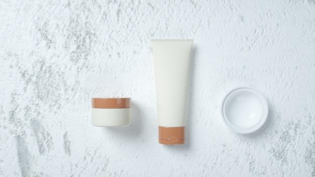 Rendu 3d de crèmes de beauté sur fond blanc pour l'affichage du produit