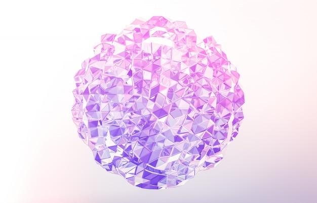 Rendu 3d. cristal géométrique abstrait, pierre précieuse irisée et facettée.