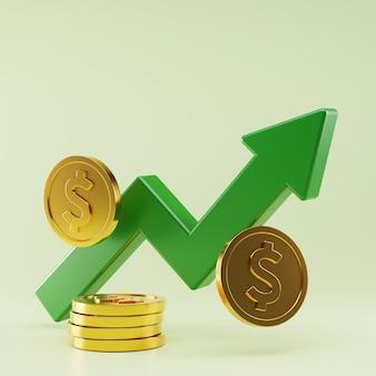 Rendu 3d de la croissance des taux de change du dollar