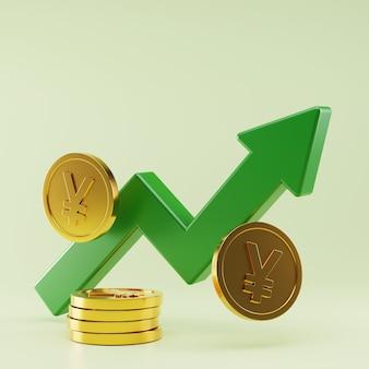 Rendu 3d de la croissance des taux de change du yen