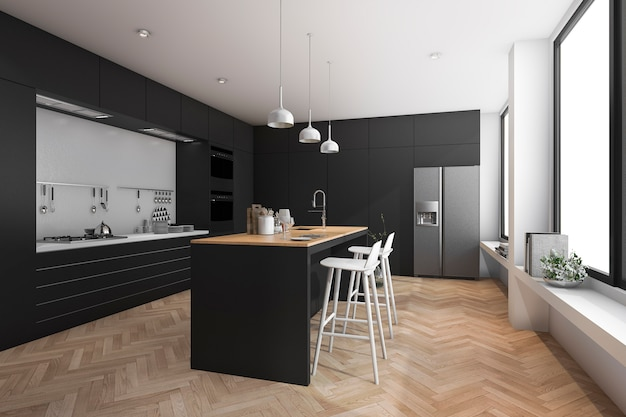 Rendu 3d de la cuisine moderne de luxe