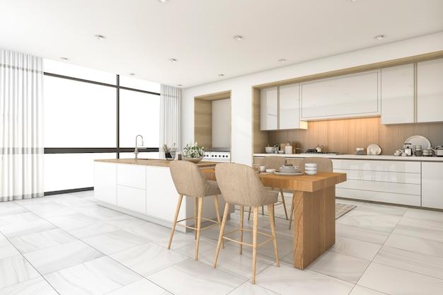 Rendu 3d cuisine scandinave et salle à manger avec belle tuile