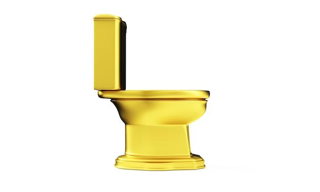 Rendu 3d de la cuvette des toilettes d'or isolé sur fond blanc