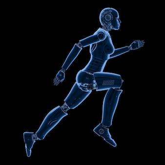 Rendu 3d cyborg femelle ou robot courir ou sauter isolé sur fond noir