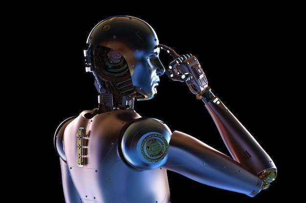 Rendu 3d cyborg ou robot en métal sur fond noir