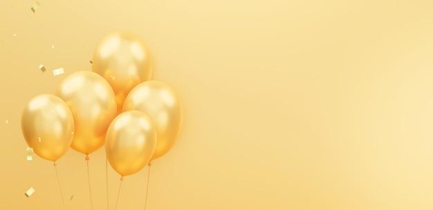 Rendu 3d de décoration de ballons dorés avec des confettis
