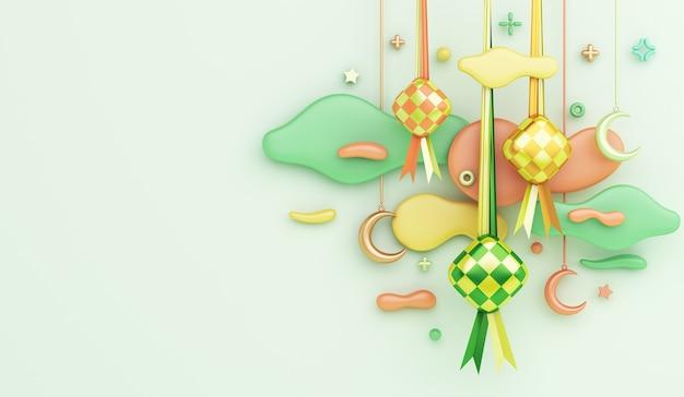 Rendu 3d décoration islamique avec nuage de croissant de ketupat sur fond vert clair