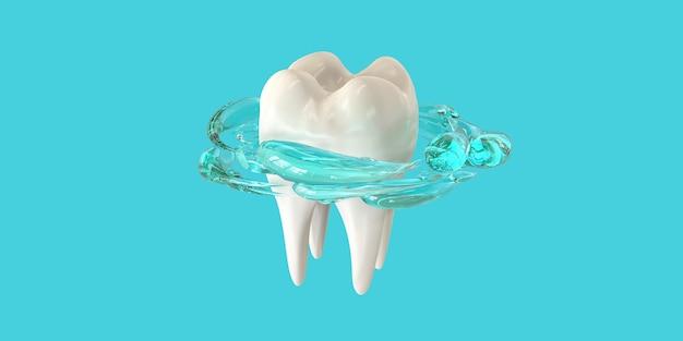 Rendu 3d des dents réalistes. nettoyer les dents blanches avec un bain de bouche