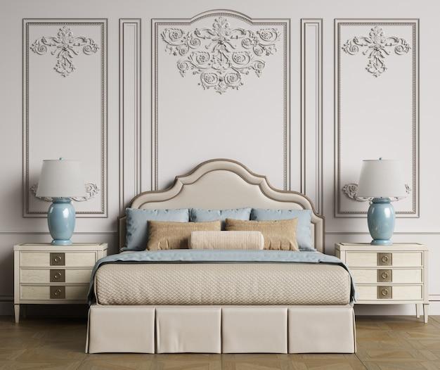 Rendu 3d de design d'intérieur de chambre classique