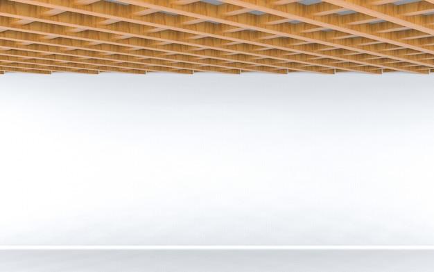 Rendu 3d. design moderne du plafond en bois avec fond de plancher vide mur blanc.