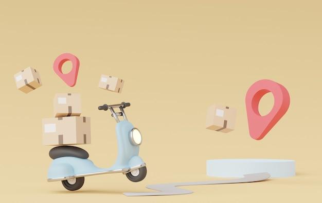 Rendu 3d d'un dessin animé minimal de scooter ou de moto de livraison de colis achats en ligne et concept de livraison rapide
