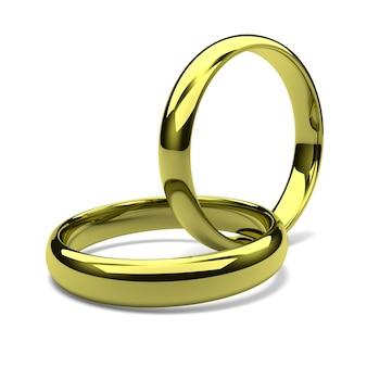 Rendu 3d de deux anneaux d'or enchaînés