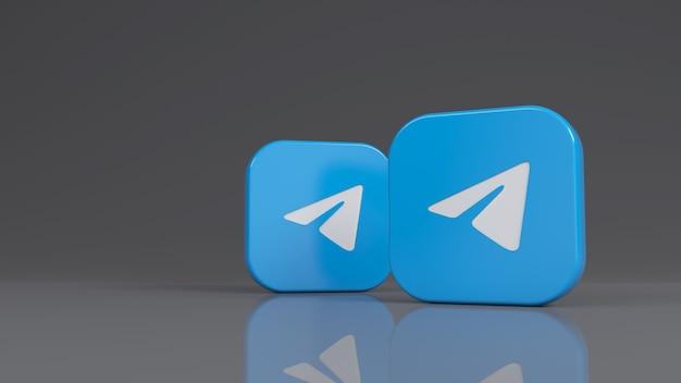 Rendu 3d de deux badges carrés telegram sur fond gris