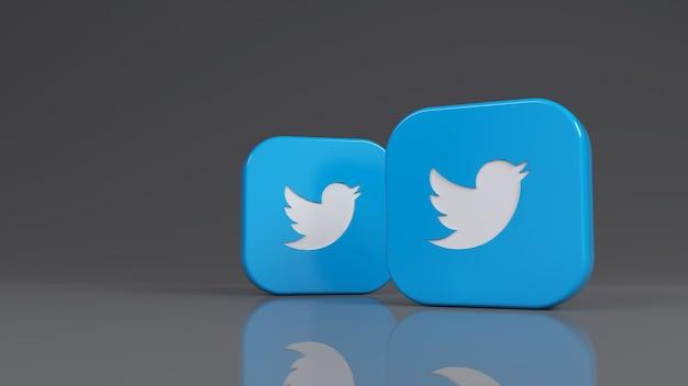 Rendu 3d de deux badges carrés twitter sur fond gris