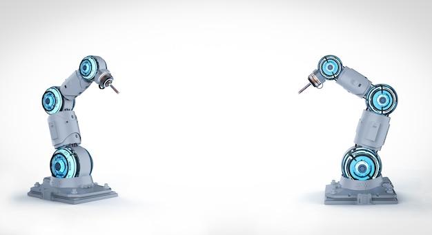 Le rendu 3d de deux bras robotiques blancs avec un espace vide sur fond blanc
