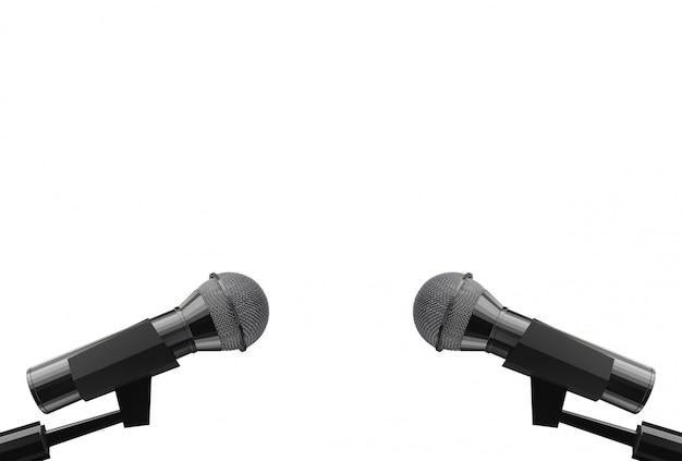 Rendu 3d. deux microphone avec un tracé de détourage isolé sur fond blanc.