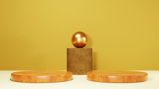 Rendu 3d de deux podiums en bois dans une pièce brune pour afficher l'arrière-plan des produits. maquette pour le produit d'exposition.