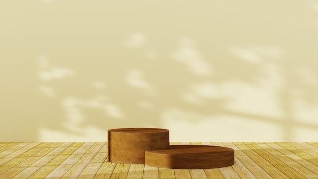 Rendu 3d de deux podiums bruns sur un fond de plancher en bois. maquette pour le produit d'exposition.