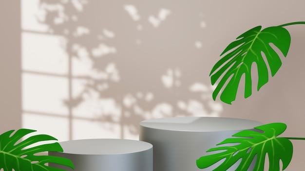 Rendu 3d de deux podiums gris pour placer des objets et des feuilles dans un fond de pièce ombragée par une fenêtre. maquette pour le produit d'exposition.