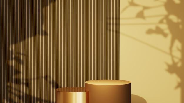 Rendu 3d de deux podiums pour l'affichage de produits dans une pièce marron clair et d'une ombre à partir de l'arrière-plan de la fenêtre. maquette pour le produit d'exposition.