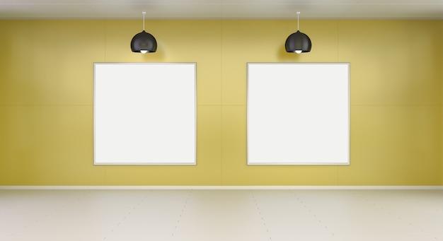Rendu 3d de deux toiles blanches sur un mur