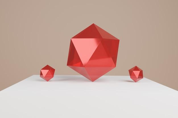 Rendu 3d de diamants rouges
