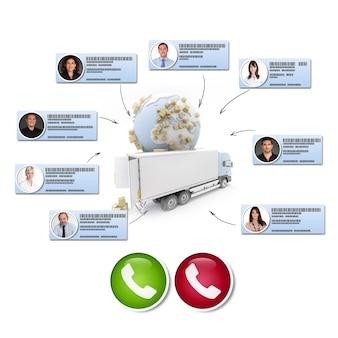 Rendu 3d de différents contacts d'affaires faisant une conférence téléphonique dans un contexte de distribution internationale