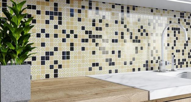 Rendu 3d. dosseret en mosaïque dans la cuisine. modèle avec des carrés noirs.