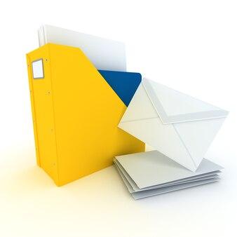 Rendu 3d d'un dossier avec des documents et une pile d'enveloppes