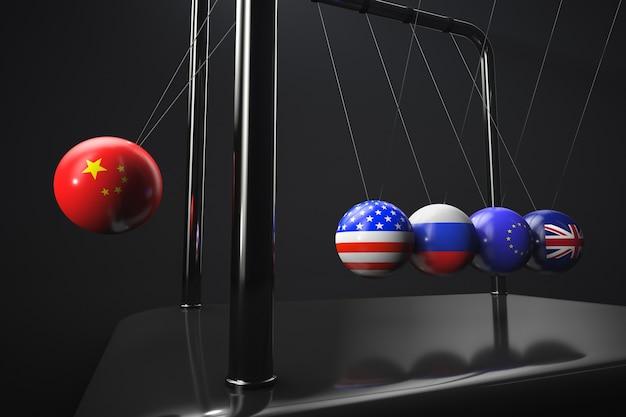 Rendu 3d des drapeaux de la chine, de la russie, des états-unis, de l'union européenne et du royaume-uni sur les boules du berceau de newton
