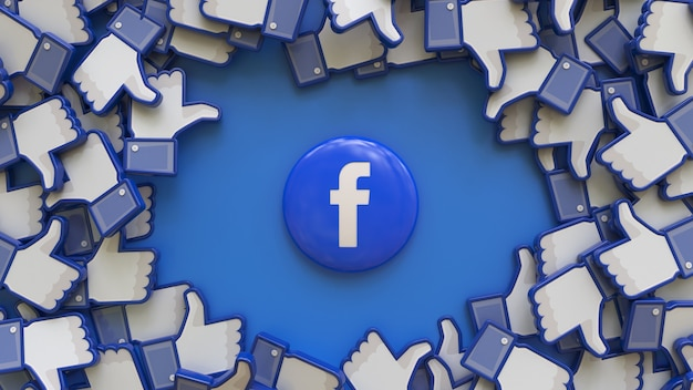 Rendu 3d du badge facebook entouré d'un tas d'icônes similaires sur fond bleu